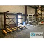 """FABRICATED STEEL CANTILEVER RACKS IN LOWER SHEAR BAY, (7) 90"""" HIGH X 75"""" X 44"""" ARM APPROX., (1) 100"""""""