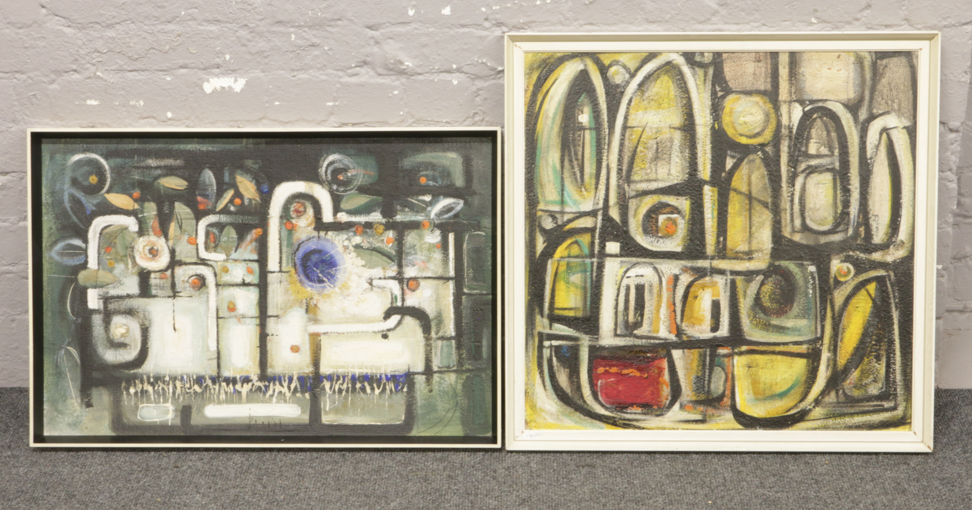 Lot 295 - Two framed oil on board abstract pictures.