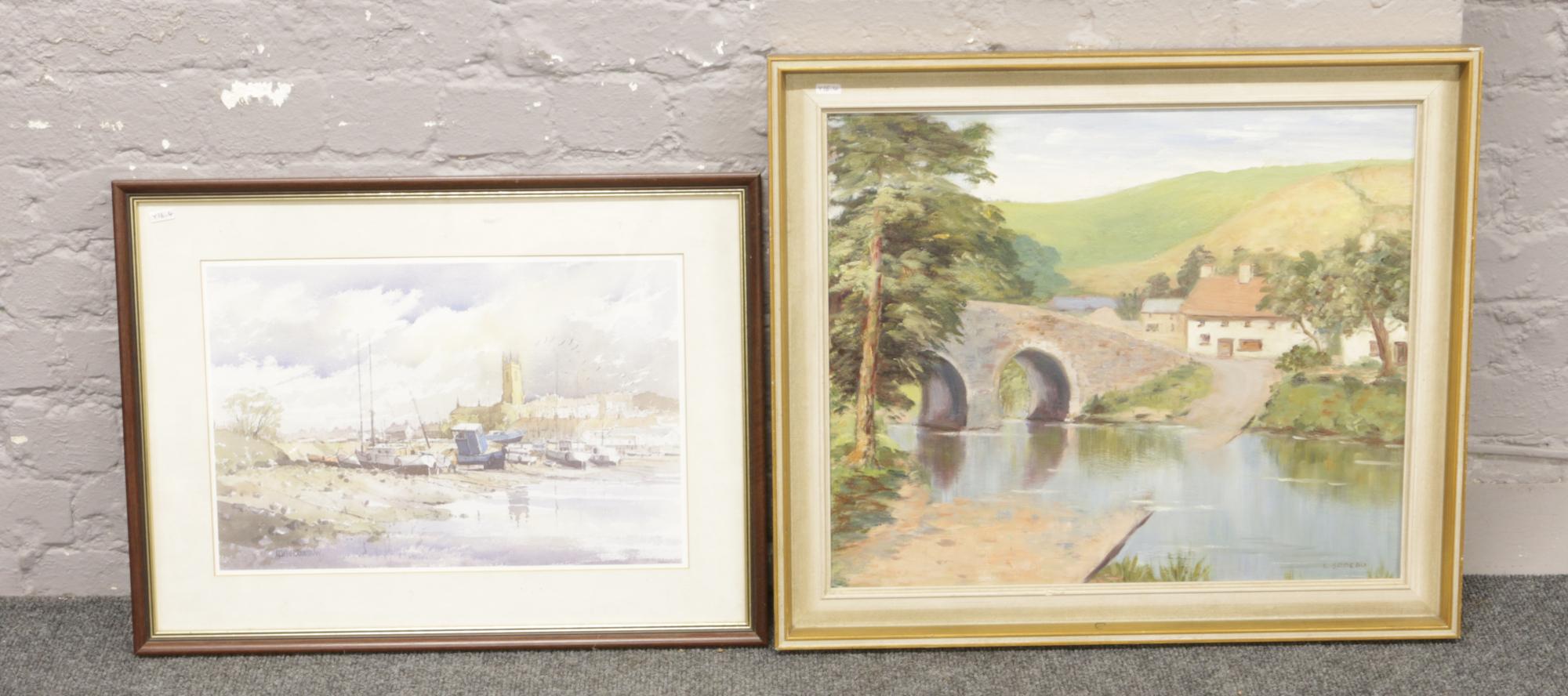 Lot 284 - A gilt framed oil on canvas, rural landscape. Signed L. Sodedu, along with a framed print after