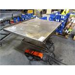 American Lift 4'-1/2'' x 5'-1/2'' 750lb Capacity Scissor Lift Table with Foot Pedal Control