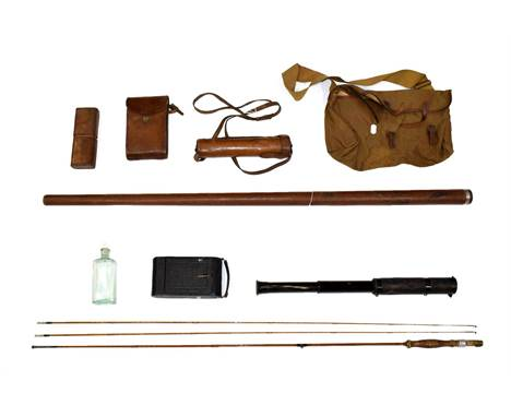 ~ A Split Cane Fishing Rod, contained in a leather case stamped HWLW, 136cm long overall; A Leather and Canvas Satchel; A Law