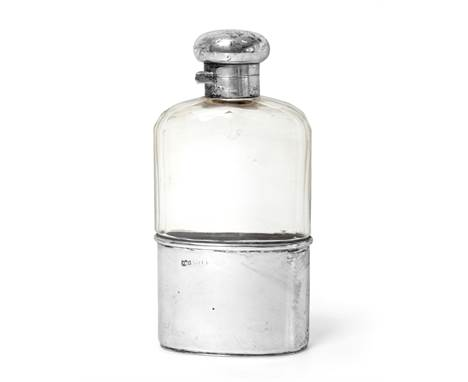 ~ An Edward VII or George V Silver-Mounted Glass Spirit-Flask, by Neal Brothers, London, Circa 1910, the facetted glass body