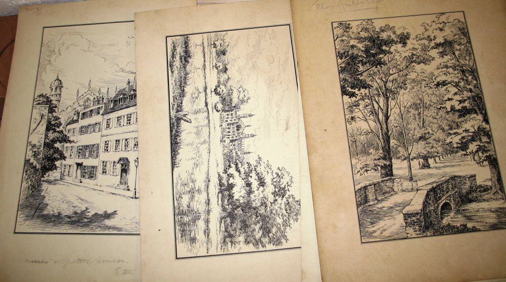 Lot 25 - ETON, misc. topographical scenes, Eton & environs, ink drawings by H. L. Shindler, 14 x 10ins [