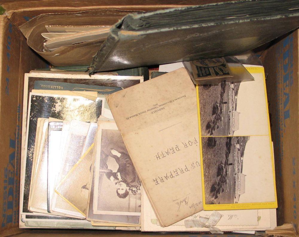 Lot 3 - PHOTOS, cards, etc., 19th c. & later (1 box).
