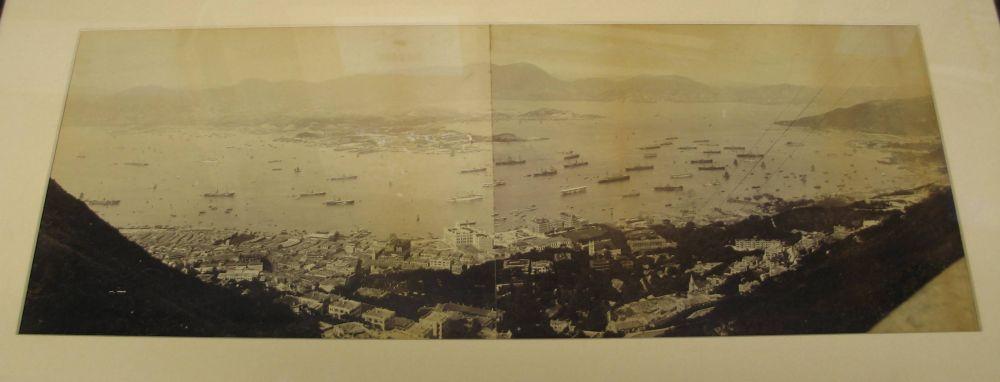Lot 59 - HONG KONG / PHOTOGRAPHY: two-part panorama of Hong Kong harbour, albumen, circa 1900. Oak frame.