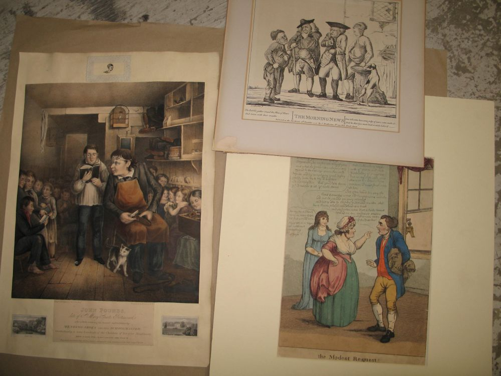 """Lot 27 - PORTSMOUTH SHOEMENDER / SCHOOLMASTER """"John Pound,"""" hand-col'd litho, trimmed and laid down, &"""