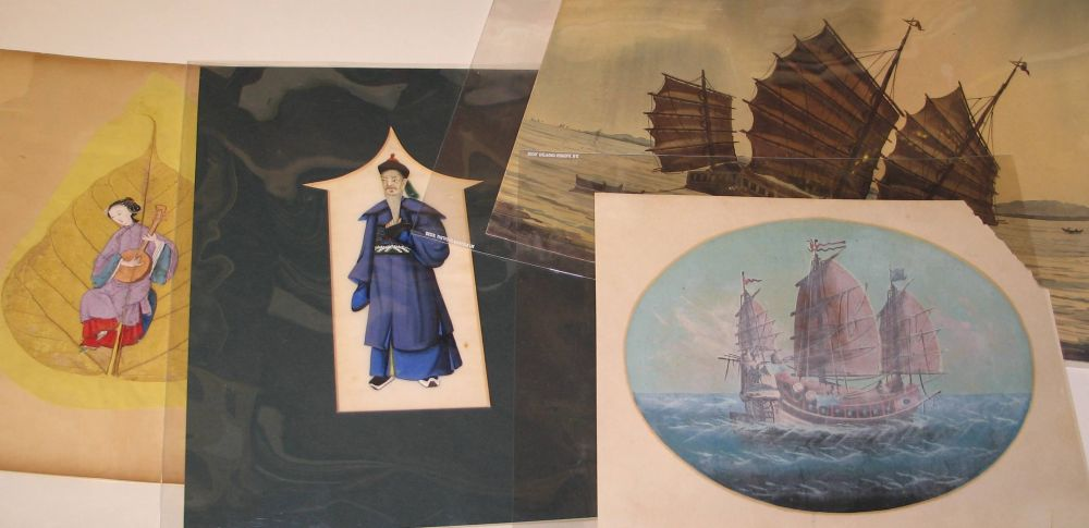 Lot 42 - CHINA: Group of four watercolours / gouache, including one large view of junk signed by A.B. Ibrahim