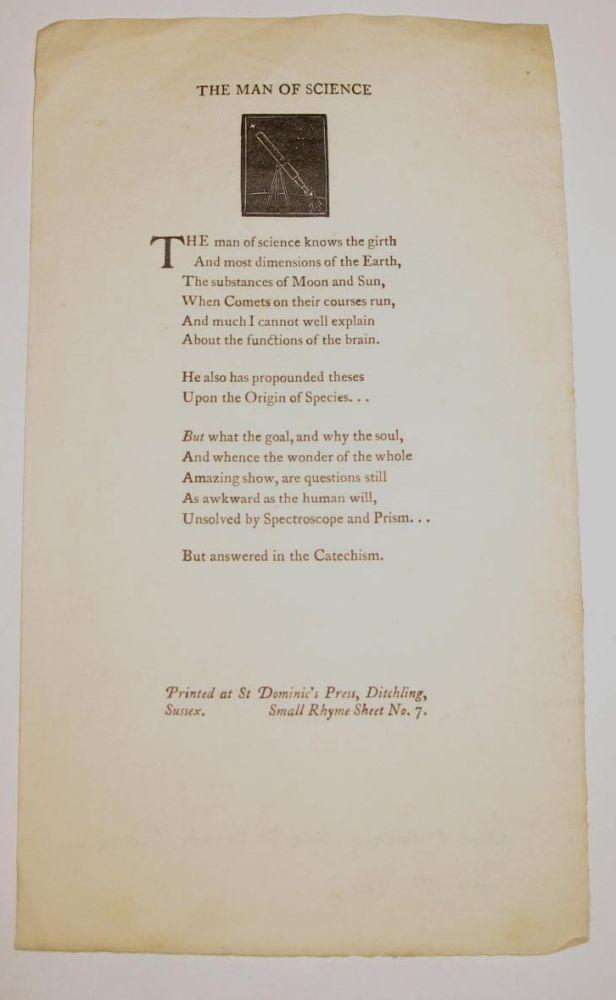 "Lot 38 - ST DOMINIC'S PRESS:""Small Rhyme Sheet No. 7. The Man of Science,"" woodcut at head, single sheet, 9 x"