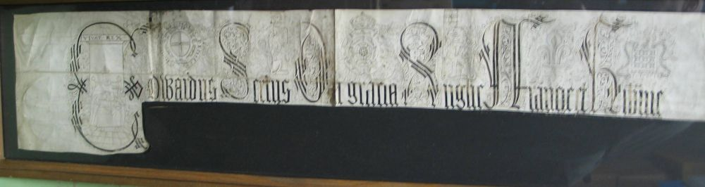 Lot 61 - [PENMANSHIP] the top part of a vellum document, probably reign of HENRY VII, with fine