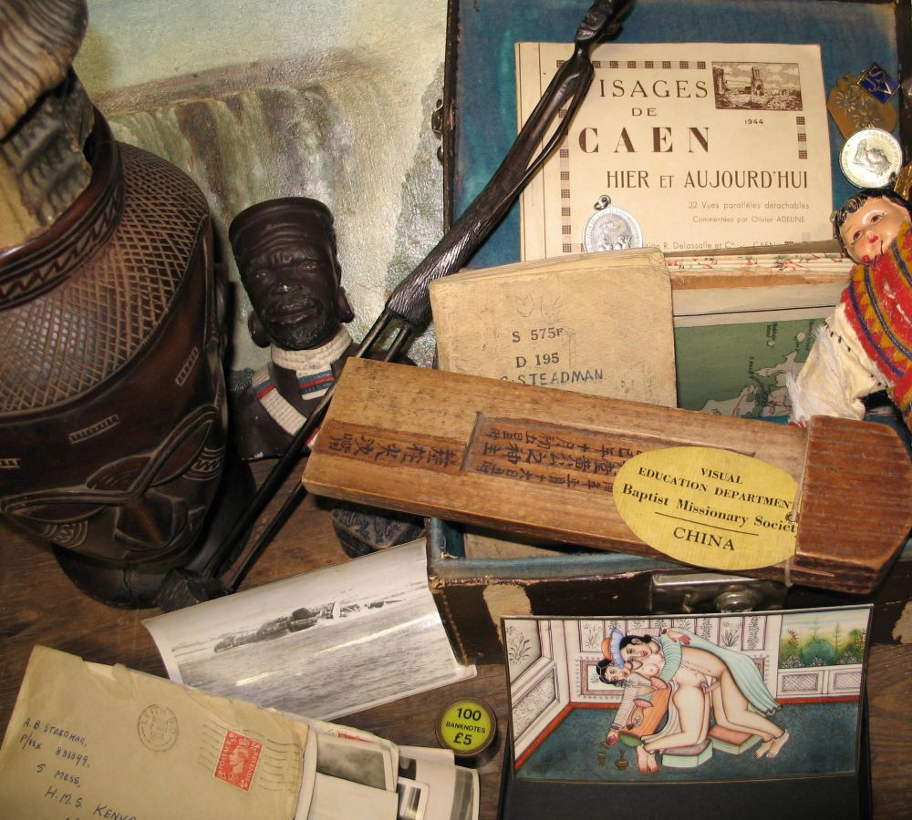 Lot 49 - MISSIONARY: Leather box of maps, documents and medals, together with an assortment of tribal