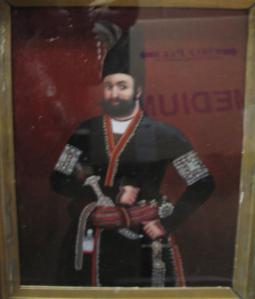 Lot 47 - PERSIA: Oil painting of Sultan, Persian possibly;. c1900. Gilt frame.