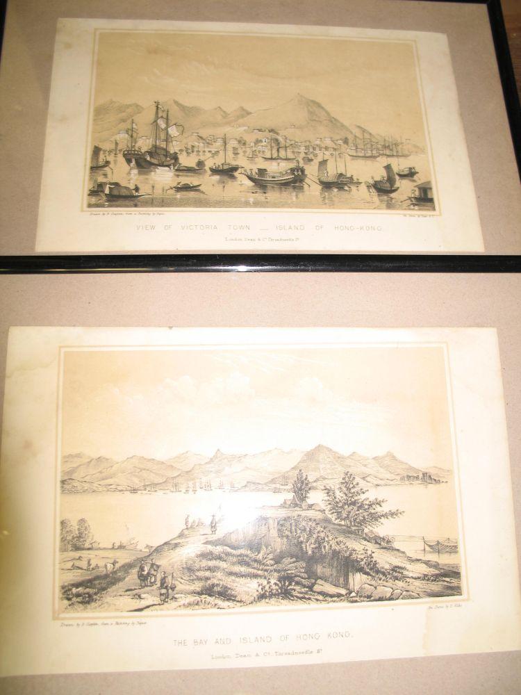Lot 58 - HONG KONG: pair of original lithographs of Hong Kong, 1847. Each 23 x 15 cm. Framed.