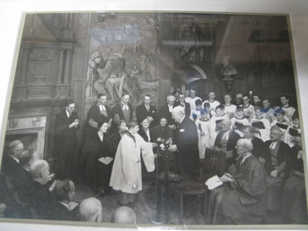 Lot 63 - a collection of misc. prints & pictures, incl. b/w photo of Churchill receiving contributions to the