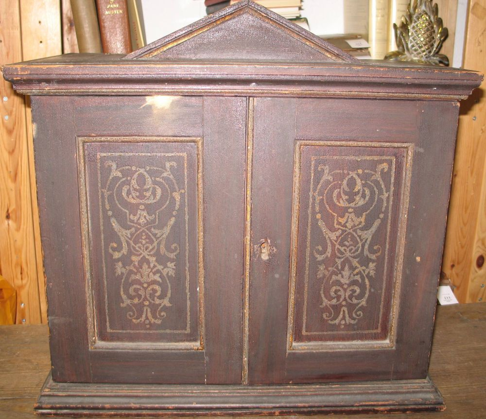 Lot 51 - Wooden cabinet with doors; including 4 drawers inside. 19th c.