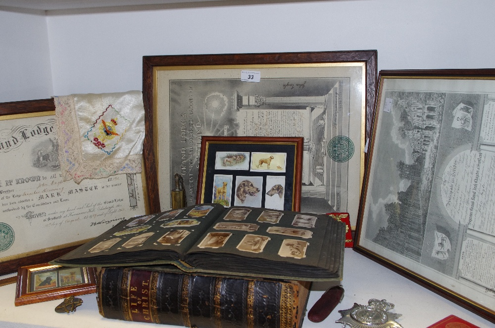 Lot 33 - Boxes and objects - Scottish Free Masonry certificates; early 20th cigarette cards;