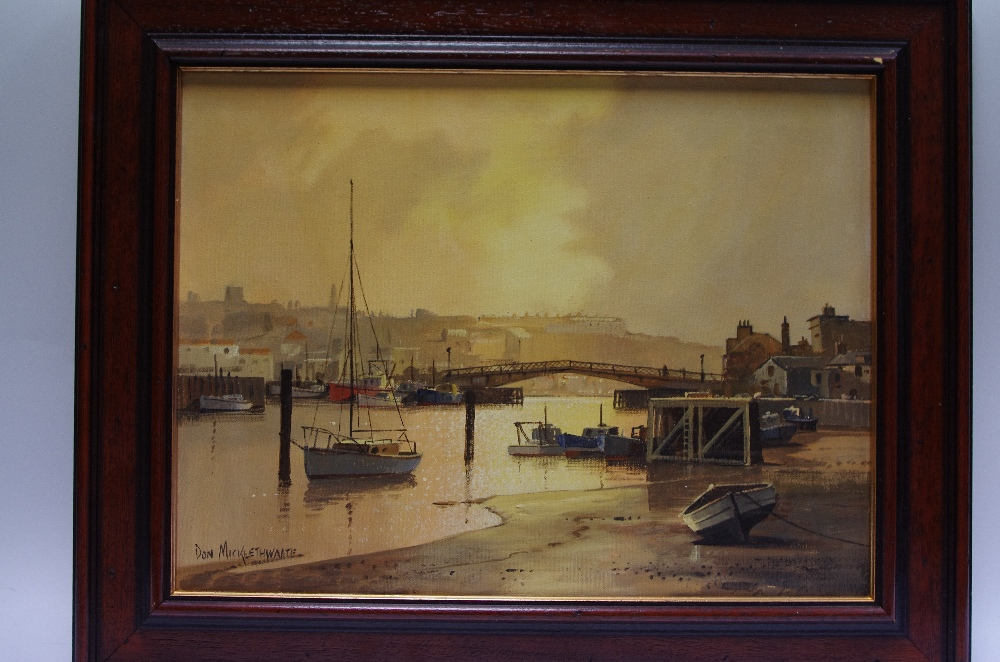 Lot 54 - Don Micklethwaite View from the inner harbour, Whitby oil on canvas,