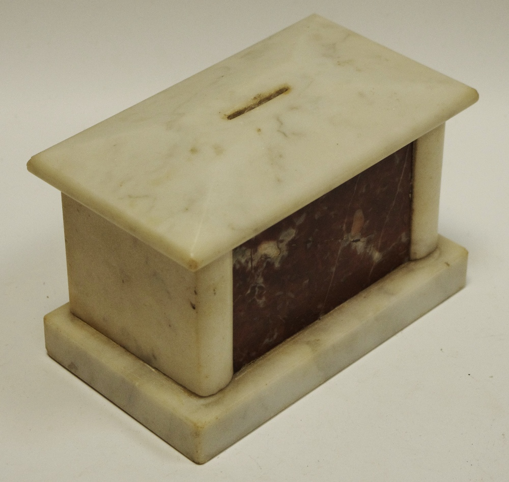 Lot 24 - An unusual 19th century marble money box, c.