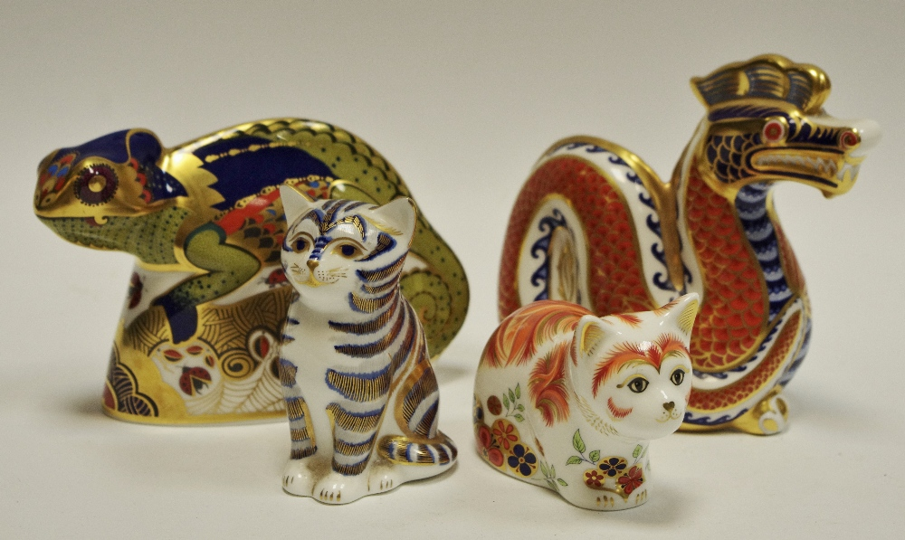 Lot 47 - A Royal Crown Derby paperweights including Dragon, gold stopper, 1st quality; Spice,