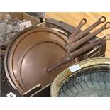 Victorian copper pans and assorted lids