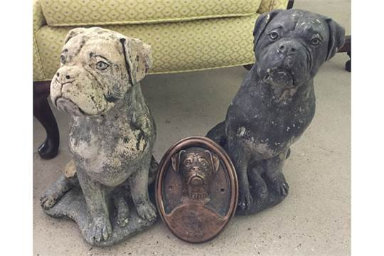 2 concrete garden boxer dog statues, together with a boxer