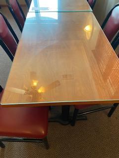Glass top wood grain double pedestal 2-1/2'x 4' table