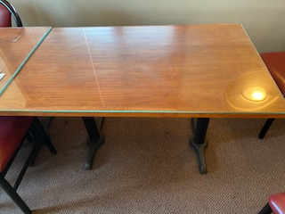 Glass top wood grain double pedestal 2-1/2'x 4' table - Image 3 of 3
