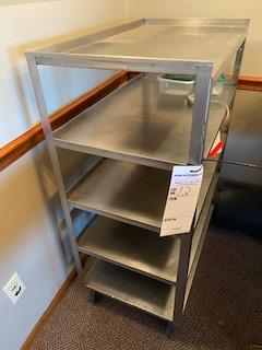 Stainless rolling 4-shelf service cart