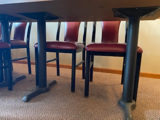 Glass top wood grain double pedestal 2-1/2'x 4' table - Image 2 of 3
