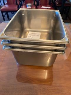 """(3) stainless 9x12x6"""" deep stainless inserts"""