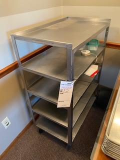 Stainless rolling 4-shelf service cart - Image 2 of 2