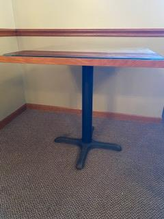 Glass top wood grain 2-1/2' square pedestal table - Image 2 of 2