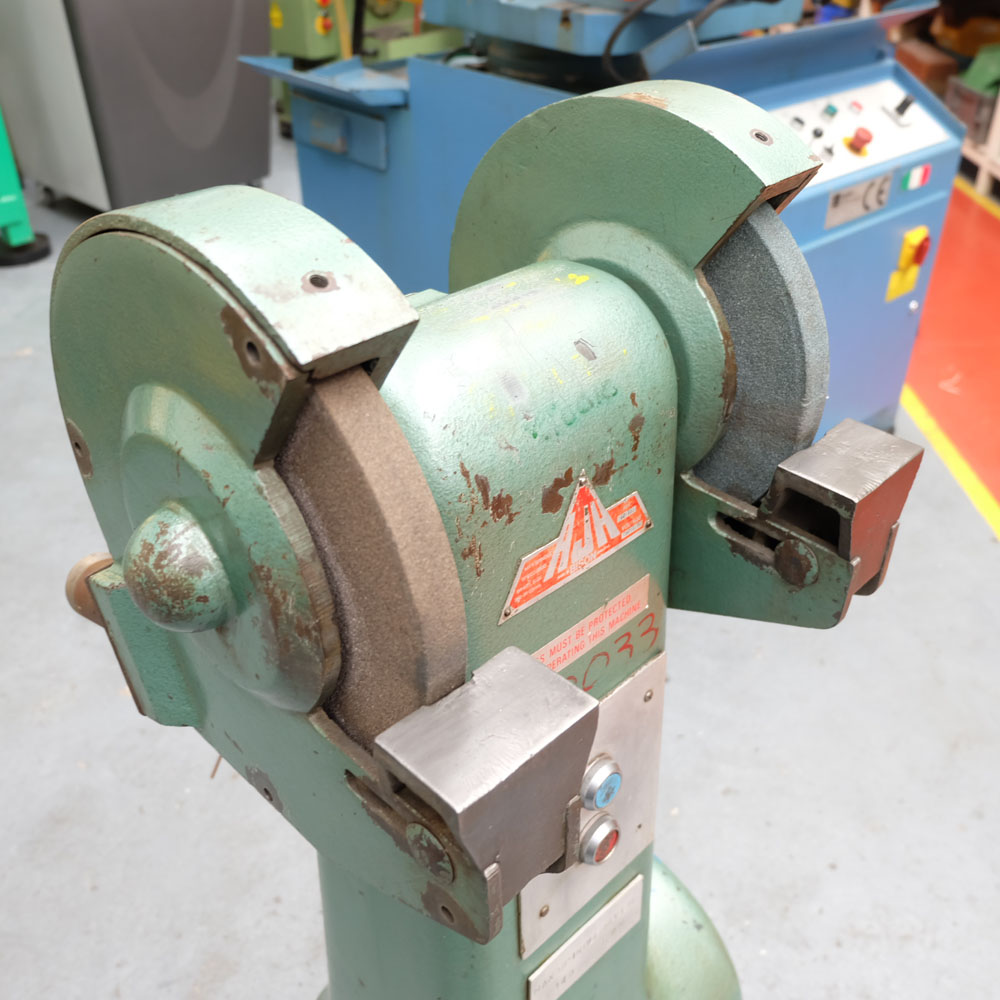 Lot 38 - An RJH BISON Double Ended Pedestal Grinder: Wheel Size 250 x 25 x 20mm Bore.