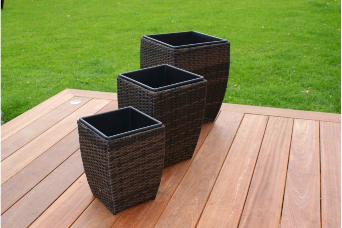 Lot 100 - RATTAN OUTDOOR PLANTERS - BROWN *BRAND NEW*