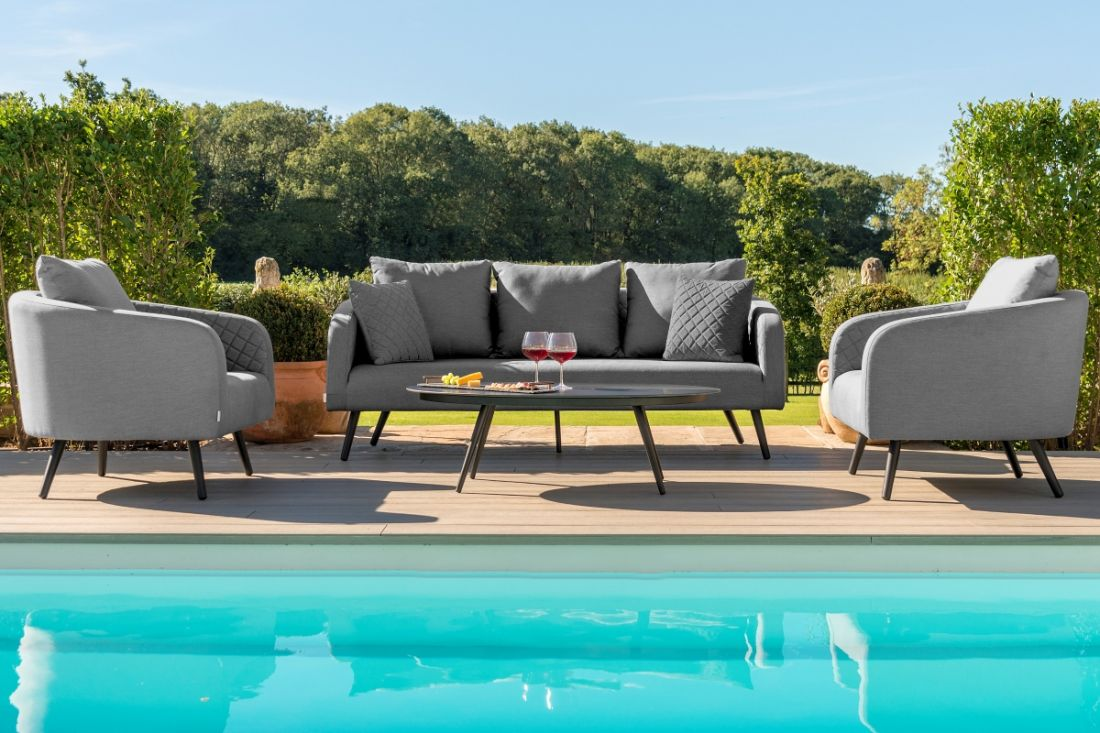 Lot 19 - LOUNGE - AMBITION 3 SEAT SOFA SET (FLANELLE) OUTDOOR FABRIC *BRAND NEW*