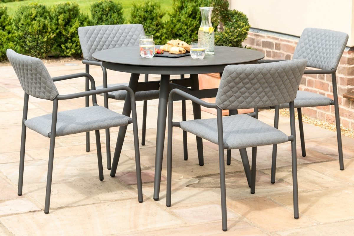 Lot 24 - BLISS 4 SEAT ROUND DINING SET (FLANELLE) OUTDOOR FABRIC *BRAND NEW*