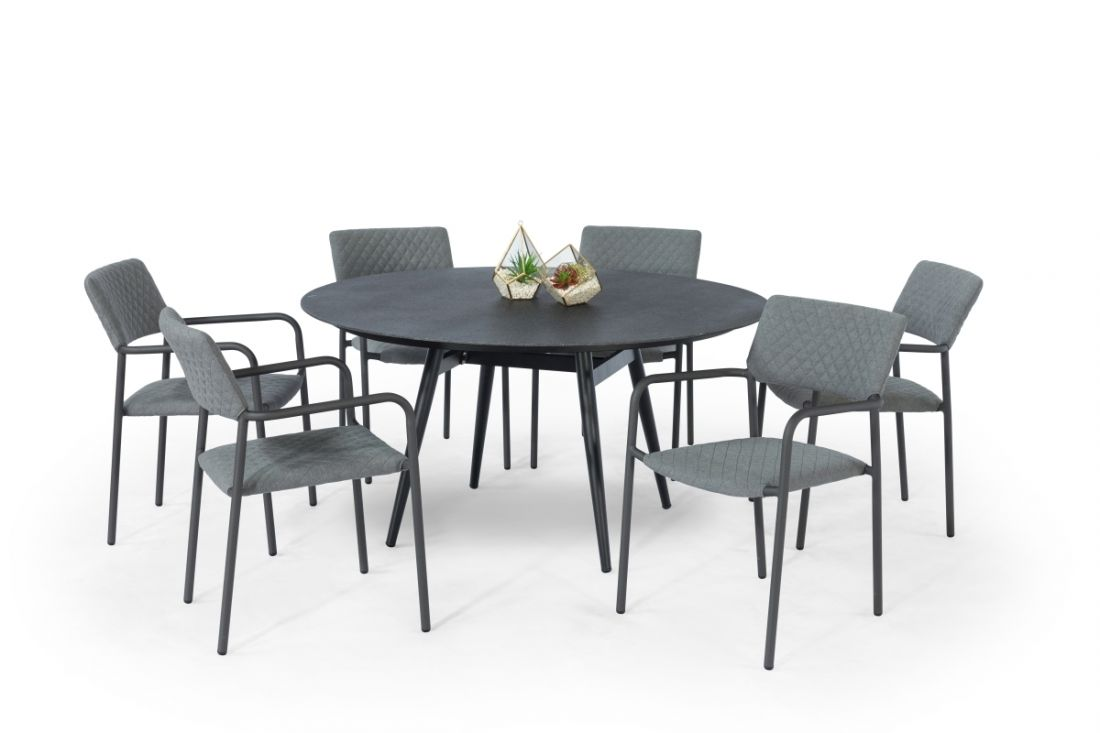 Lot 28 - BLISS 6 SEAT ROUND DINING SET (FLANELLE) *BRAND NEW*