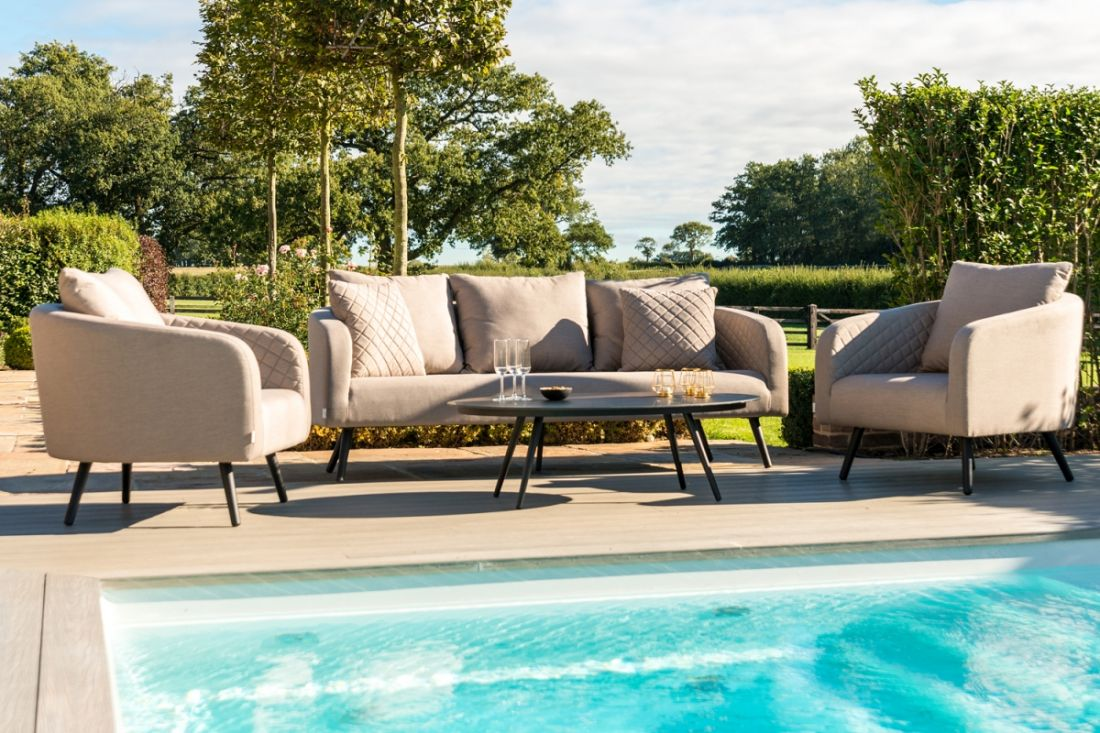 Lot 20 - AMBITION 3 SEAT SOFA SET (TAUPE) OUTDOOR FABRIC *BRAND NEW*
