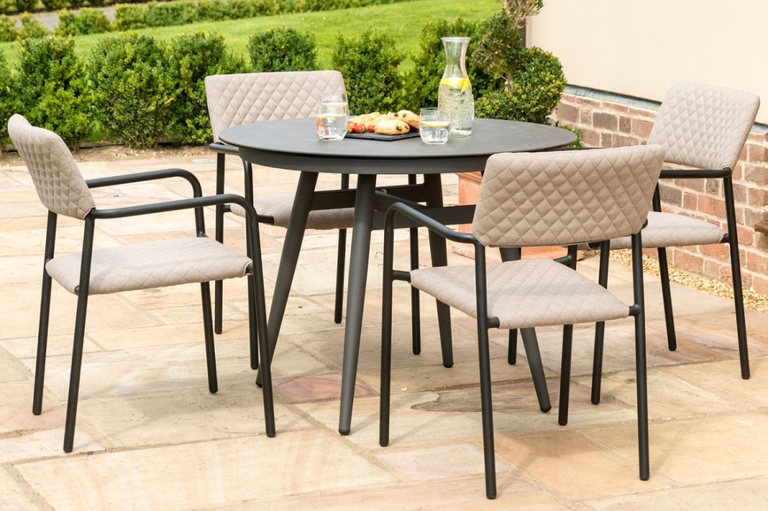 Lot 25 - BLISS 4 SEAT ROUND DINING SET (TAUPE) *BRAND NEW*