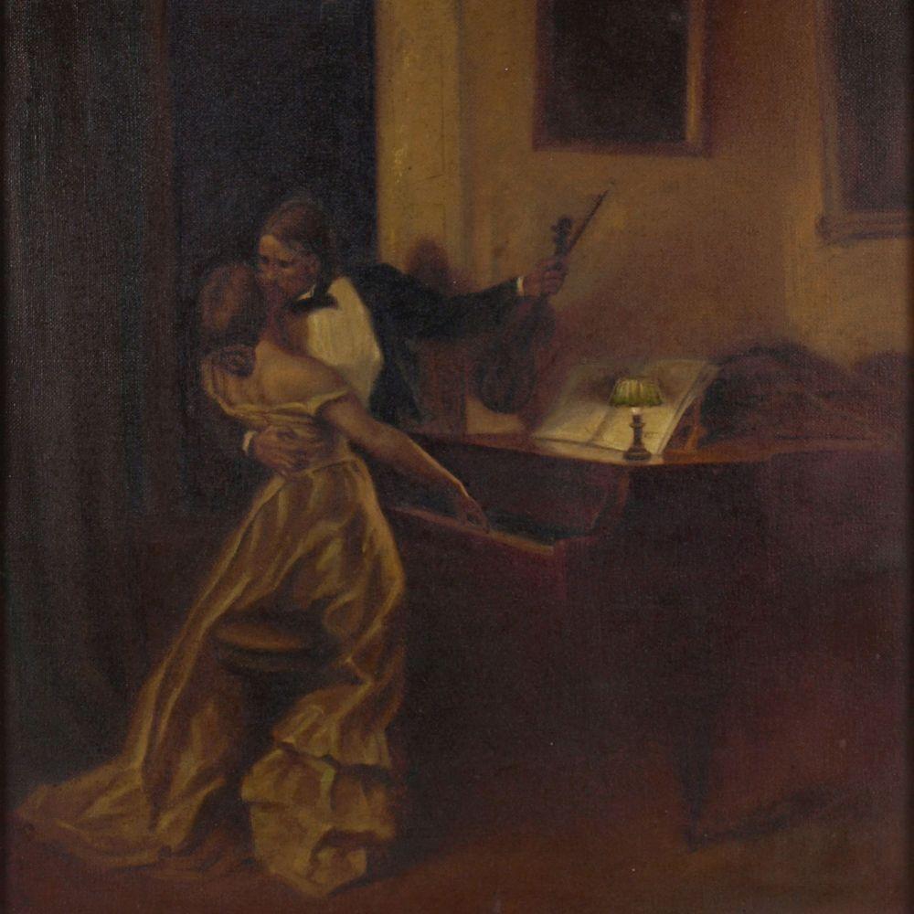 """Opening: 60 EUR        Warth Öl/Lwd., """"Der Kuss"""", Kopie nach einem Gemälde von René Prinet (1861"""