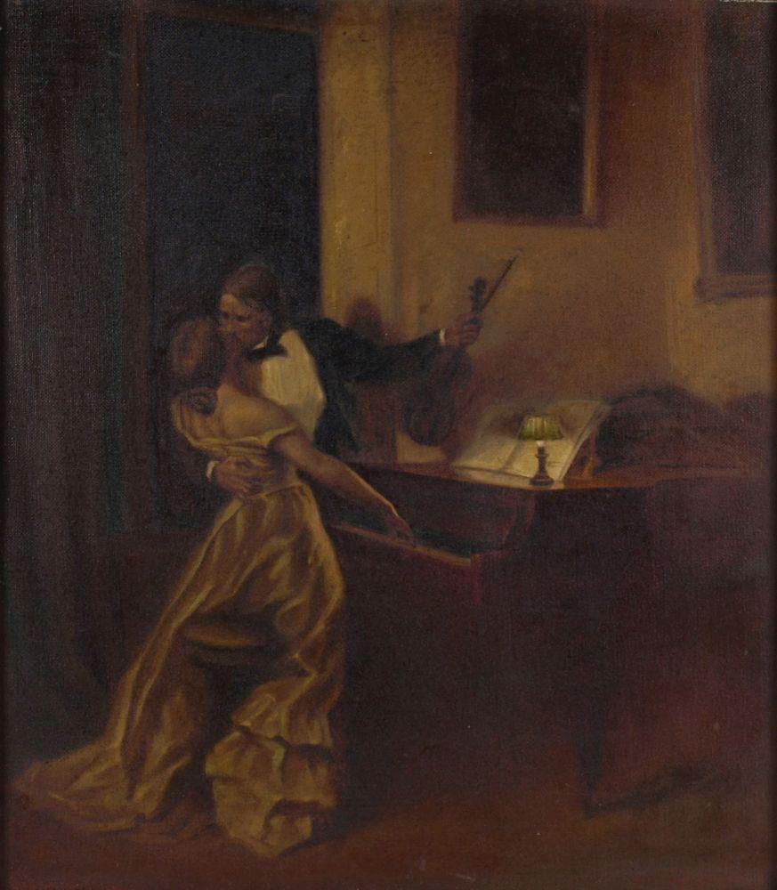 """Opening: 60 EUR        Warth Öl/Lwd., """"Der Kuss"""", Kopie nach einem Gemälde von René Prinet (1861 - Image 2 of 4"""