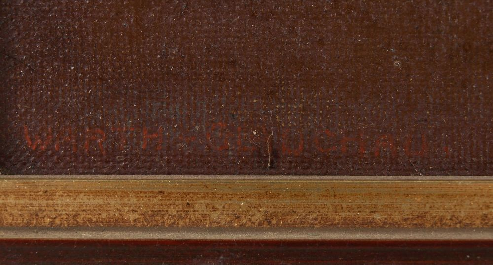 """Opening: 60 EUR        Warth Öl/Lwd., """"Der Kuss"""", Kopie nach einem Gemälde von René Prinet (1861 - Image 4 of 4"""