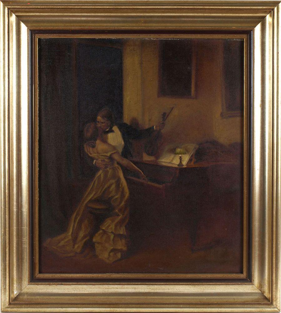 """Opening: 60 EUR        Warth Öl/Lwd., """"Der Kuss"""", Kopie nach einem Gemälde von René Prinet (1861 - Image 3 of 4"""