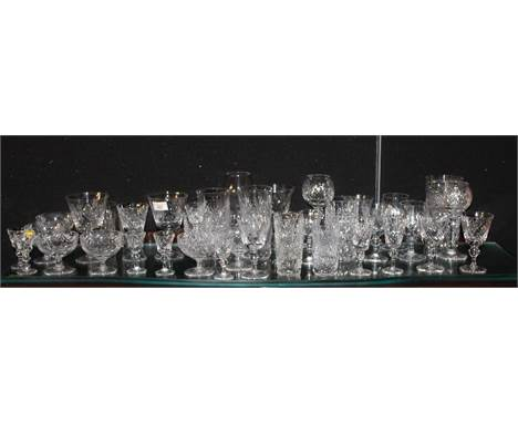 A selection of various crystal glassware, mainly cut in the Lismore style