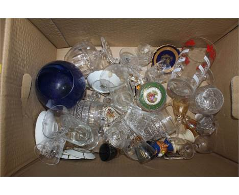 Two boxes of miscellaneous glassware, to include some cut crystal.