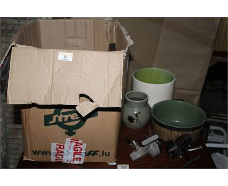 A box of miscellaneous pottery and glassware, to include a Roddey 500 fishing reel and a Daiwa 7270A fishing reel
