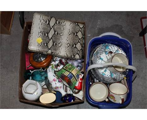 Two boxes of miscellaneous china and glassware, to include Cottageware teapot, Wedgwood glass paperweight, coloured glassware