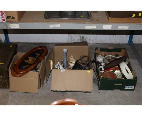 Three boxes of miscellaneous items, to include Denby, Westbury pattern dinner plate and side plates, a cast metal mincer, a a