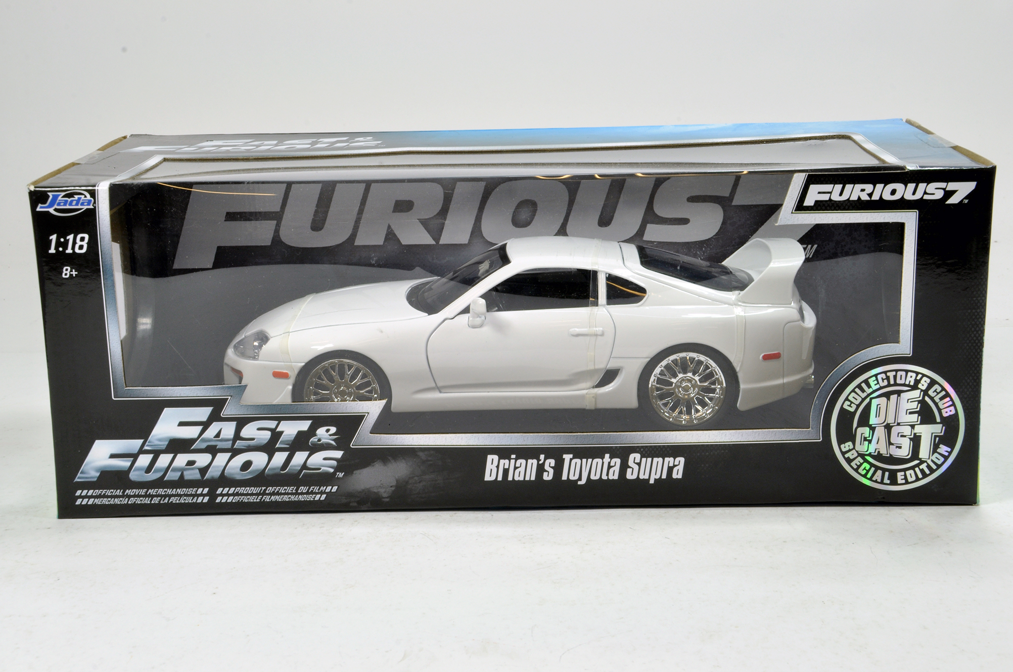 Lot 654 - JADA 1/18 diecast issue comprising Fast and the Furious 'Brians Toyota Supra'. E to NM in Box.