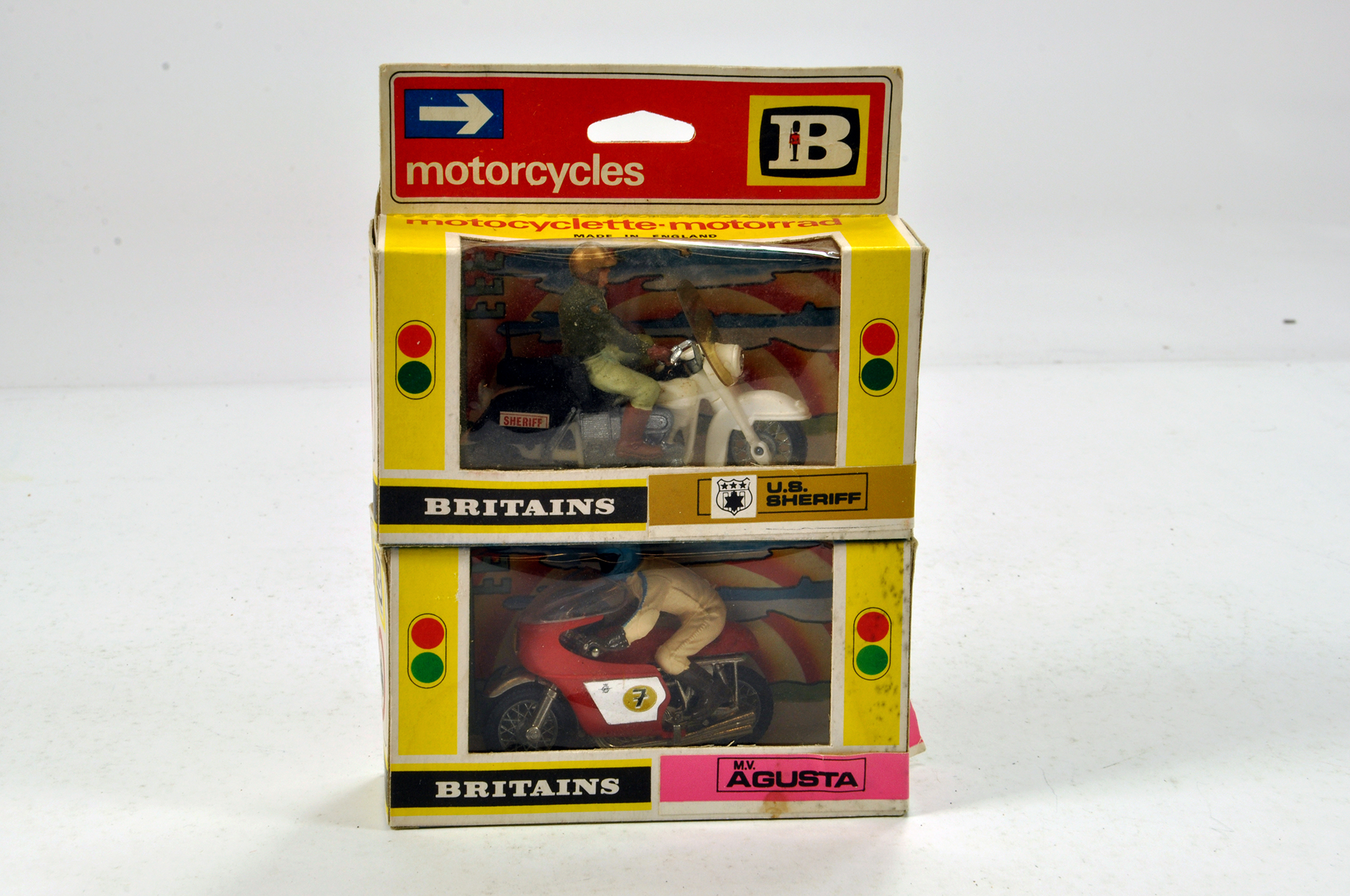 Lot 418 - Britains Motorcycle Duo comprising US Sheriff and MV Agusta. E to NM in Boxes. (2)