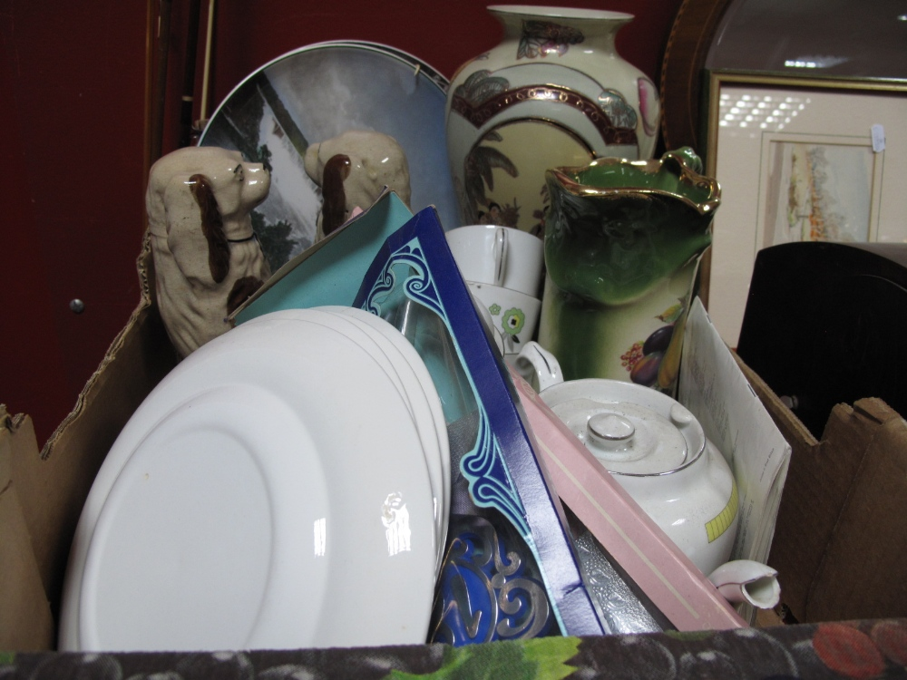 Lot 1002 - Czech Teaware, Staffordshire dogs (one damaged), Doulton plates, other ceramics:- One Box and a
